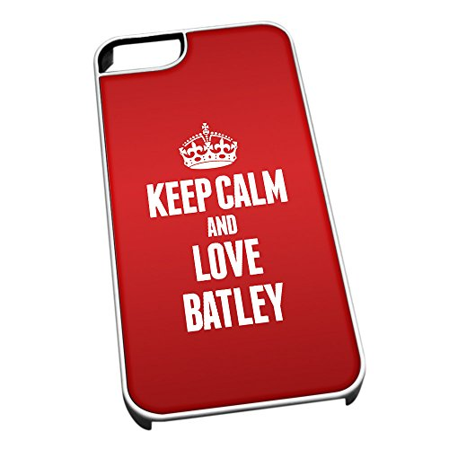 Bianco Cover per iPhone 5/5S 0046 Rosso Keep Calm And Love Batley