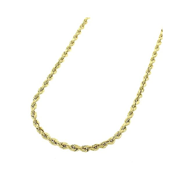 14K-Yellow-Gold-2mm-Solid-Rope-Diamond-Cut-Link-Heavy-Duty-Twisted-Chain-Necklace-16-30