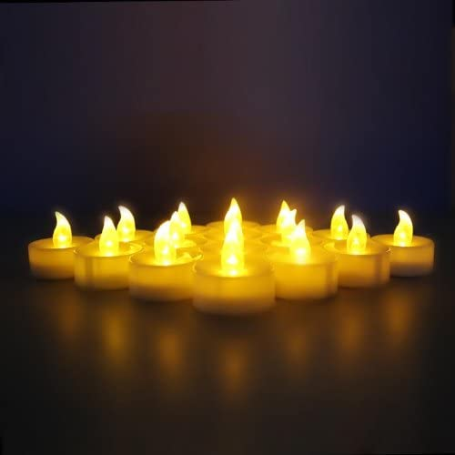 24-Battery-Powered Flameless LED Frosted Flickering Tealight Candles – Yellow Extra Pack of 6 Batteries