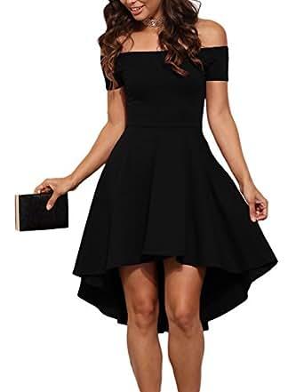made2envy Off Shoulder Asymmetric Hem Vintage Skater Dress (L, Black) LC61346BL