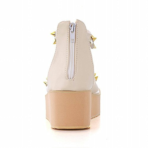 Sandals Fashion Womens Sweet Carol Beige Shoes Candy Zipper Platform Popular Rivet Color Chic gIP4q