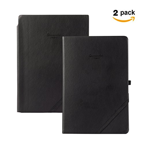2 Pack Ruled Hardcover & Dotted Softcover PU Leather Notebook, Premium Classic Thick Paper Notebook Best for Bullet Journal Writing, Business & Study note-taking By Memory (Paper Journal)