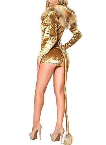Amazon.com: Disfraz dorado sensual de animal con cola y ...