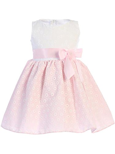 Lito Baby Girls Pink and White Embroidered Cotton Easter Dress (2T) from Lito
