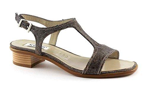 CLAVES 5409 zapatos de las mujeres de bronce sandalia de la correa hacia abajo brillo salpicadero Grigio