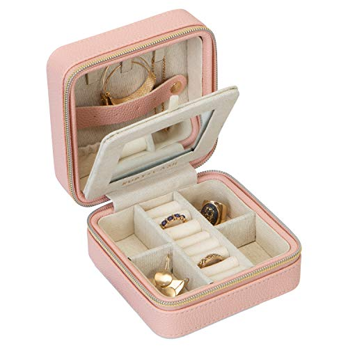 (Ruby + Cash Faux Leather Travel Jewelry Box Organizer Zippered Storage Case, Good for Rings, Necklaces, Bracelets & Earrings, 4.6