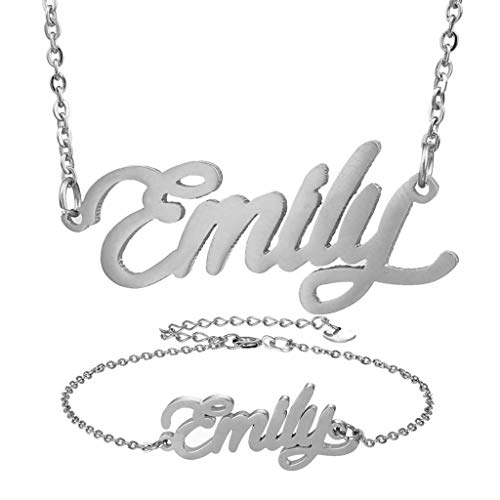 (AIJIAO Personalized Name Necklace + Name Bracelet Sets for Women Nameplate Pendant Gift -Emily Silver)