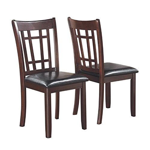 Lavon Dining Side Chairs with Padded Vinyl Seat Espresso and Black (Set of 2)