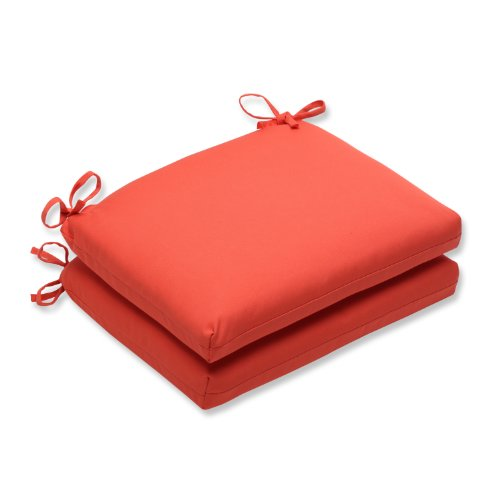 Pillow Perfect Indoor/Outdoor Squared Corners Seat Cushion with Sunbrella Canvas Melon Fabric, Set of 2, 18.5 in. L X 16 in. W X 3 in. D