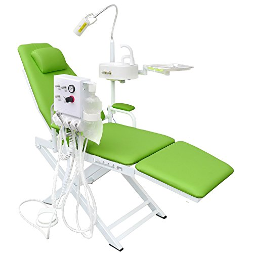 OuboDental Portable Folding Chair Moblie Unit With LED Surgical Light Lamp & Dental Tray (Apple Green)