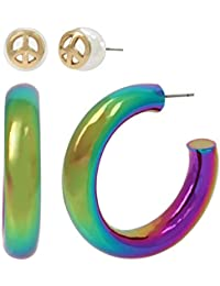 BCBG Generation Women's Peace Sign Bead Stud & Rainbow Hoop Earrings Set, Multi, One Size