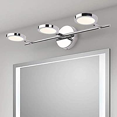 LED Vanity Lights 3-Lights, Joosenhouse Wall Sconces Bath Light for Mirror in Home Bathroom Up or Down Vanity Wall… - 【New Design】Modern design with rotated beam angle, chrome stainless steel base and brief 3 light deisgn, perfectly used for bedroom, it is a wonderful makeup vanity light. As the bathroom vanity light, it also works well. There are 2 installation methods. One is directly installation on the wall as sconces wall lamp. The other is installation on ceiling as ceiling spot light in living room. 【Specifications】Length:21.26in , width(extends from the wall): 7.87in; backplate: dia.=4.72in. Voltage: 85-265V; Color Temperature: 4000K 【Easy for installation 】Fix the lamp base at an appropriate position, connect the wires, and then fix the light fixture on the base. - bathroom-lights, bathroom-fixtures-hardware, bathroom - 41h0224Nl1L. SS400  -