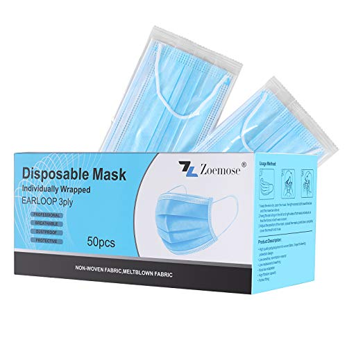 Disposable Face Masks 3-Ply Individually Wrapped for Home, School, Office and Outdoors