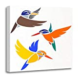 Emvency Canvas Prints Square 16x16 Inches Brown Animal Birds Kingfishers In Flight Colorful Beautiful Colorfully Exotic Fauna Decoration Wooden Frame Pictures Framed Wall Decor
