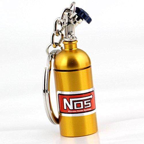 maycom Creative New NOS Mini Nitrous Oxide Bottle Keyring Key Chain Ring Keyfob Stash Pill Box Storage Turbo Keychain (Gold)