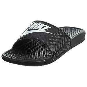 Best Epic Trends 41h02ZgZNkL._SS300_ Nike Women's Benassi Just Do It Sandal, Black/White, 7 Regular US