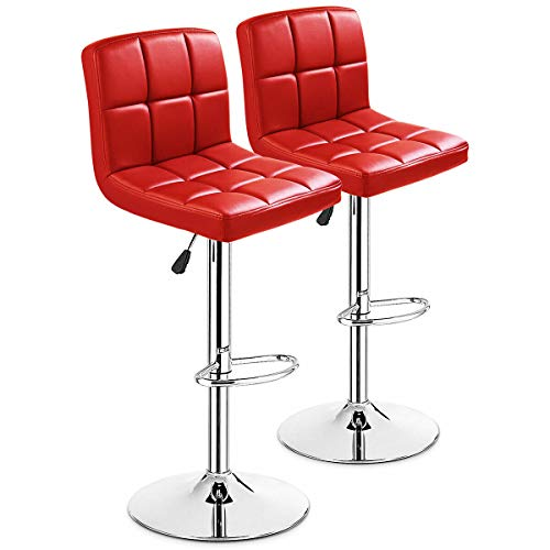COSTWAY Bar Stool, Modern Swivel Adjustable Barstools, Square Armless Counter Height PU Leather Bar Stools for Kitchen Dining Living Bistro Pub Chair Counter Back Barstool (Red, Set of 2)