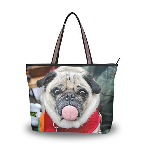 Woman Tote Bag Shoulder Handbag Naughty Dog for Work Travel Business Beach Shopping School ()