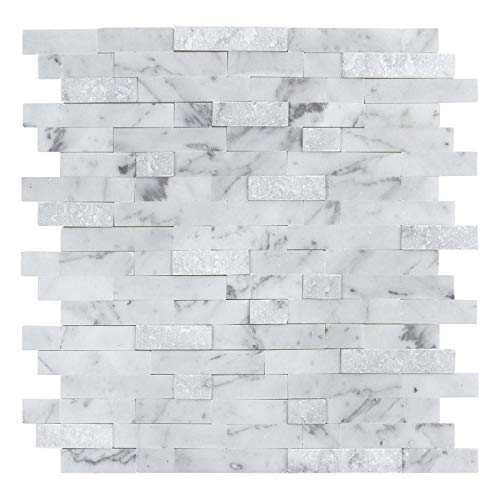 MTO0213 Peel and Stick Classic Linear White Gray Carrara Marble Mosaic Tile (Classic Tile Marble)