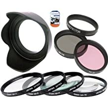 52mm Multi-Coated 7 Piece Filter Set Includes 3 PC Filter Kit (UV-CPL-FLD-) And 4 PC Close Up Filter Set (+1+2+4+10) For Nikon 55-200mm f/4-5.6G ED IF AF-S DX VR Nikkor Zoom Lens + Hard Tulip Lens Hood+ Cap Keeper + MicroFiber Cleaning Cloth + LCD Screen Protectors