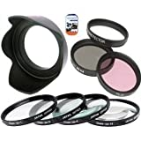 52mm Multi-Coated 7 Piece Filter Set Includes 3 PC Filter Kit (UV-CPL-FLD-) And 4 PC Close Up Filter Set (+1+2+4+10) For Canon EF 135mm f/2.8 with Softfocus Telephoto Lens + Hard Tulip Lens Hood + Cap Keeper + MicroFiber Cleaning Cloth + LCD Screen Protectors