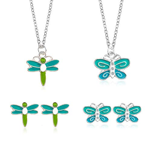 Apol 4 Pieces Fashion Creative Dragonfly Butterfly Pendant Necklace and Earrings Set with 21