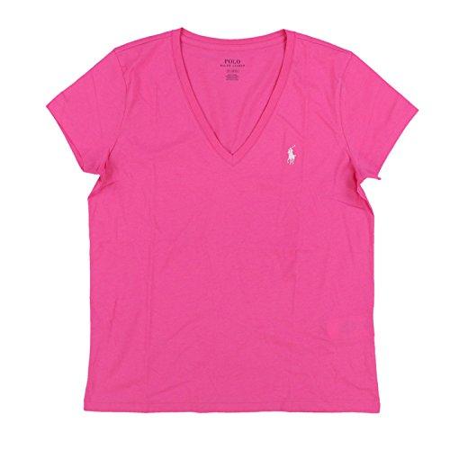 Polo Ralph Lauren Womens Pony Logo V-Neck T-Shirt Tee (M, Pink/White Pony)