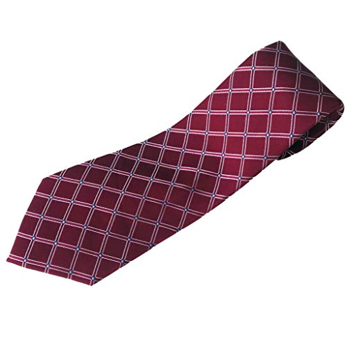 Extra Long Tie for Big and Tall Men - 100% Silk - Burgundy Diamond Pattern - 63