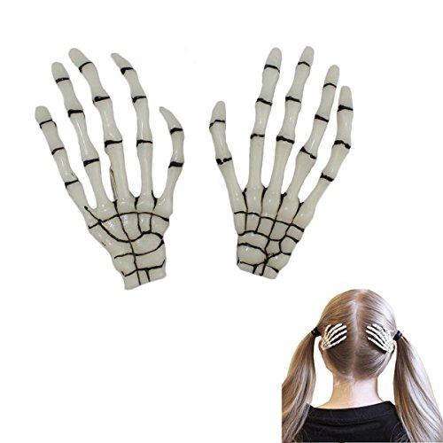 Leegoal 1 Pair Fashion Hot Sale Skeleton Hand Bone Hairslides Hair Clip Punk Hairpin Hair Pin White (Skeletons For Sale)