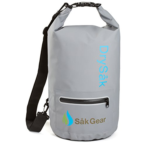DrySak Premium Waterproof Dry Bag with Exterior Zip Pocket | Keeps Gear Safe & Dry During Watersports & Outdoor Activities | Rugged 500D PVC with Shoulder Strap & Reflective Trim | 10L Grey