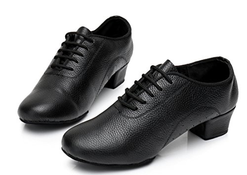 Holes Tango Samba Salsa Rumba Ballroom Leather Dance Lace with Shoes TDA Women's Black Modern up Latin Classic zw8qYa0g