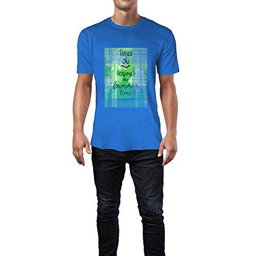 SINUS ART® Enjoy The Summer Time Herren T-Shirts in Blau Fun Shirt mit tollen Aufdruck