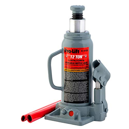 Pro-Lift B-012D Grey Hydraulic Bottle Jack - 12 Ton Capacity (Long Jack Frame Ton 10)