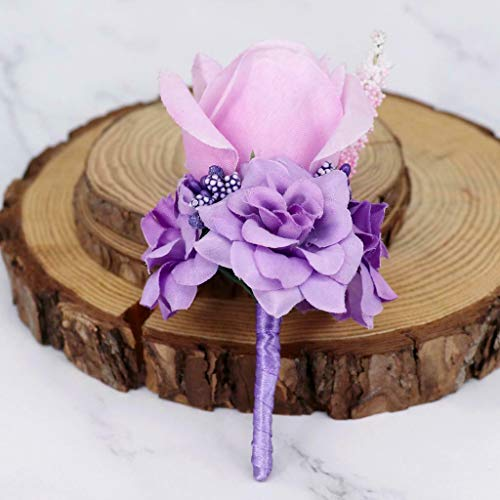 - Romantic Silk Rose Flower Boutonniere Bridal Button Hole Wedding Corsage |Color - Lilac|