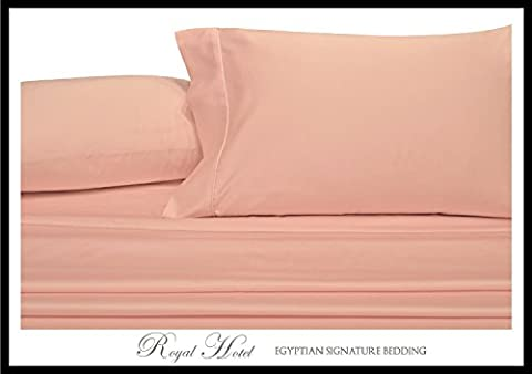 Solid Pink Twin Size Sheets, 3PC Bed Sheet Set, 100% Cotton, 300 Thread Count, Sateen Solid, Deep Pocket, by Royal - Solid Sateen Sheets