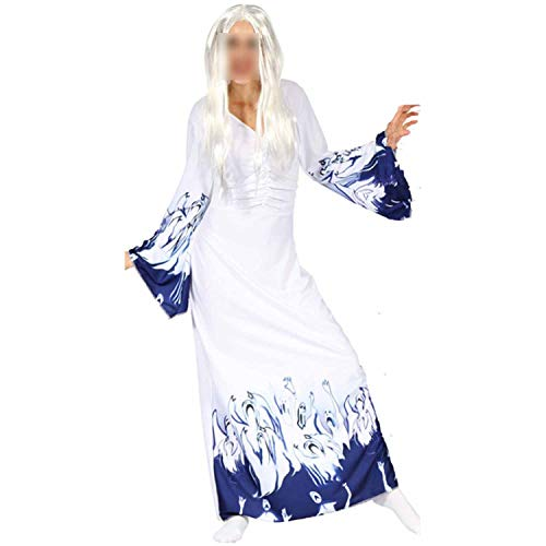 Ladies Vampire Costumes Devil Corpse Bride Black Evil Witch Queen Cosplay Masquerade Party,White,M for $<!--$43.91-->