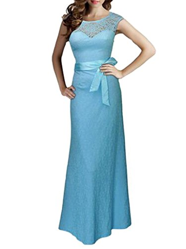 Buy light blue and black lace dress - 7