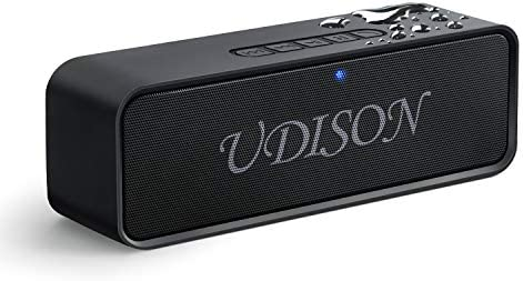 UDISON Portable Bluetooth Speaker, Wireless Louder Speakers V4.2 with Stereo Sound and Bass, Built-in Mic, Handsfree, 12 Hour Playtime, IP65 Waterproof, Aux TF USB Feature, Black