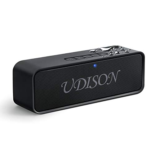 UDISON Portable Bluetooth Speaker, Wireless Louder Speakers V4.2 with Stereo Sound and Bass, Built-in Mic, Handsfree, 12 Hour Playtime, IP65 Waterproof, AUX/TF/USB Feature