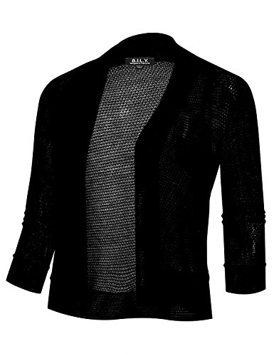 BH B.I.L.Y USA Women's Open Front Cropped 3/4 Sleeve Waffle Cardigan Black Large