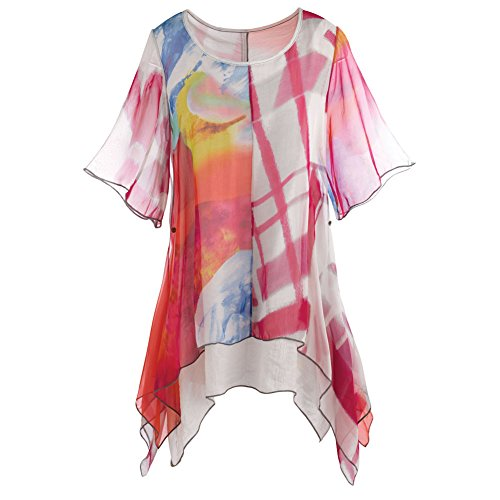 Women's Tunic Top - Abstract Print Layered Butterfly Hem - Ruby - 1X