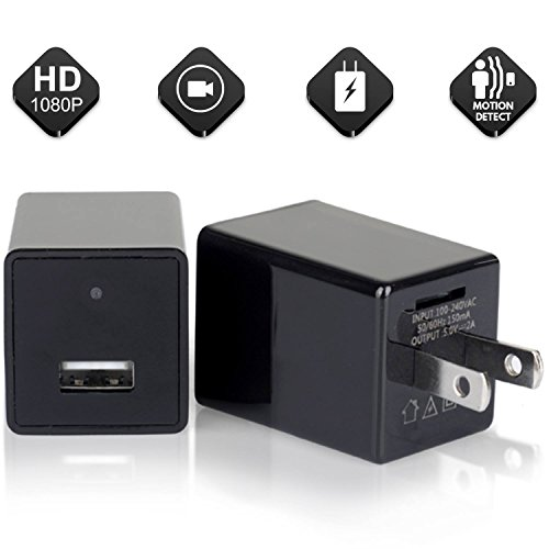 2018 Hidden Spy Camera Phone Charger Adapter - 1080P HD USB Cam with Wifi & Motion Detection - Can support 64GB Removable Memory - Charge Phones - Perfect for Office Home Nanny Hotel Surveillance - Removable Microsd
