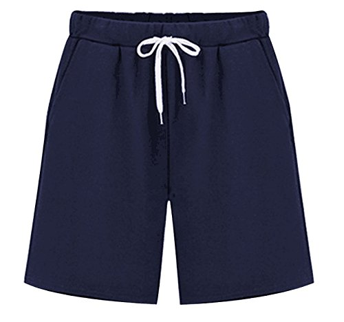 Women's Elastic Waist Soft Knit Jersey Bermuda Shorts with Drawstring Navy Blue Tag XL-US 4-6