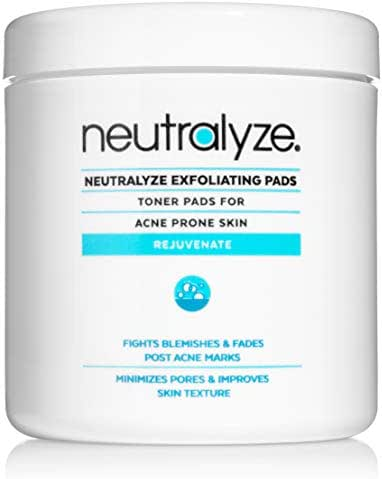 Neutralyze Exfoliating Pads - Maximum Strength Acne Treatment Pads With 2% Salicylic Acid + 1% Mandelic Acid + Nitrogen Boost Skincare Technology (100 Pads)
