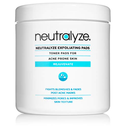 Neutralyze Exfoliating Pads (100 Pads) - Maximum Strength Acne Treatment Pads With 2% Salicylic Acid + 1% Mandelic Acid + Nitrogen Boost Skincare Technology (Best Skincare For Teens)