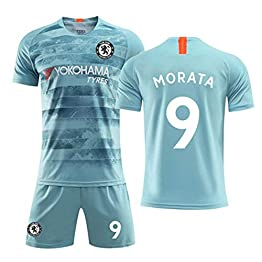 HS-FWJ.HW Alvaro Morata NO.9 Chelsea Football Club Domicile Vêtements De Football Costume Homme Adulte Enfants Set Sports Polyester Fibre,Lightgreen,M(170~175cm)