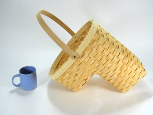 Woven Wicker Stair Step Basket w/Handle SM by I-INC