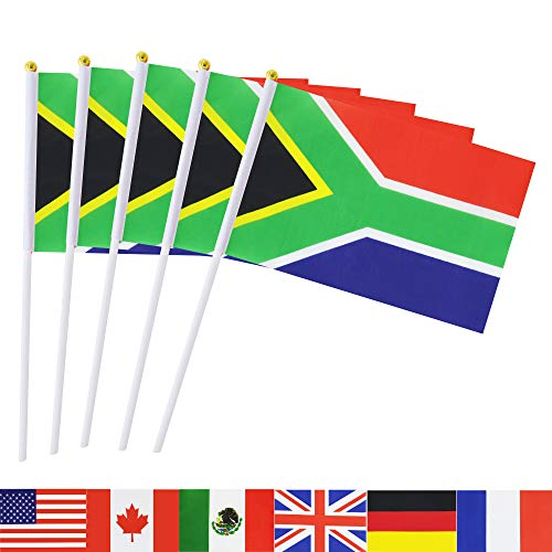 South Africa Stick Flag,TSMD 50 Pack Hand Held Small South African National Flags On Stick,International World Country Stick Flags Banners,Party Decorations For World Cup,Sports Clubs,Festival Events