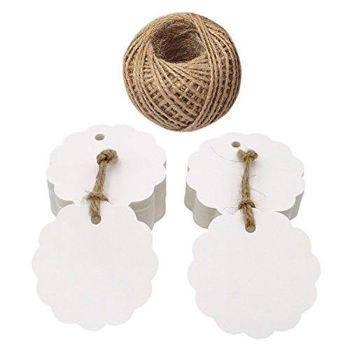 (100 PCS White Flower Kraft Paper Gift Tags,Round Wedding Favor Kraft Hang Tags with 100 Feet Jute Twine)