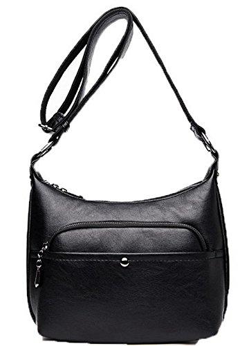 Odomolor Femme Zippers Mode Pu Cuir Des sacs Décontractée Sacs à bandoulière,ROFBL180840 Noir